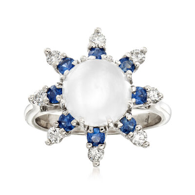 C. 1970 Vintage Moonstone, .50 ct. t.w. Sapphire and .50 ct. t.w. Diamond Ring in 14kt White Gold, , default