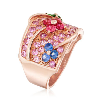 C. 1990 Vintage 2.35 ct. t.w. Multi-Stone Floral Ring in 18kt Rose Gold. Size 7, , default