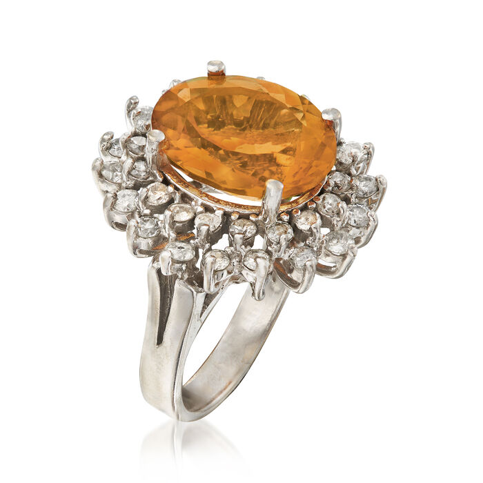 C. 1995 Vintage 6.90 Carat Citrine and 1.25 ct. t.w. Diamond Ring in 14kt White Gold
