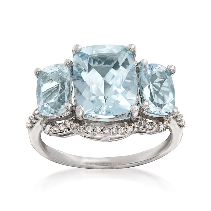 4.20 ct. t.w. Aquamarine and .25 ct. t.w. Diamond Ring in 14kt White Gold, , default