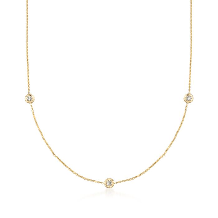 """Roberto Coin .15 ct. t.w. Diamond Station Necklace in 18kt Yellow Gold. 16"""", , default"""