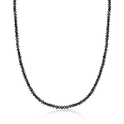 25.00 ct. t.w. Black Diamond Bead Necklace with 14kt White Gold