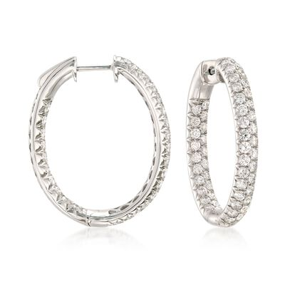 3.00 ct. t.w. Diamond Inside-Outside Oval Hoop Earrings in 14kt White Gold