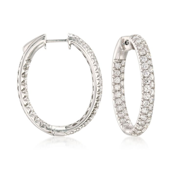 "3.00 ct. t.w. Diamond Inside-Outside Oval Hoop Earrings in 14kt White Gold. 1"", , default"