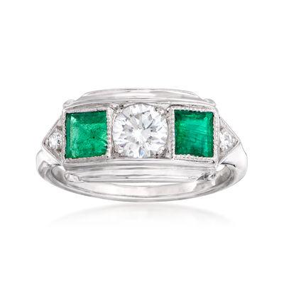 C. 1960 Vintage .70 ct. t.w. Emerald and .54 ct. t.w. Diamond Ring in Platinum, , default