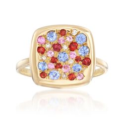 .78 ct. t.w. Pave Multicolored Sapphire Ring With Diamond Accents in 18kt Yellow Gold, , default