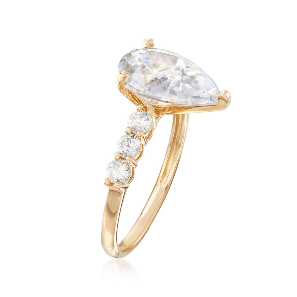 a00ffdbe4f898 3.60 ct. t.w. Pear-Shaped and Round CZ Ring in 14kt Yellow Gold