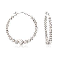 Italian Sterling Silver Beaded Hoop Earrings, , default