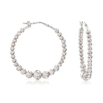 """Italian Sterling Silver Beaded Hoop Earrings. 1 1/4"""", , default"""