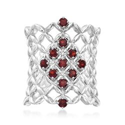 .80 ct. t.w. Garnet Latticework Ring in Sterling Silver, , default