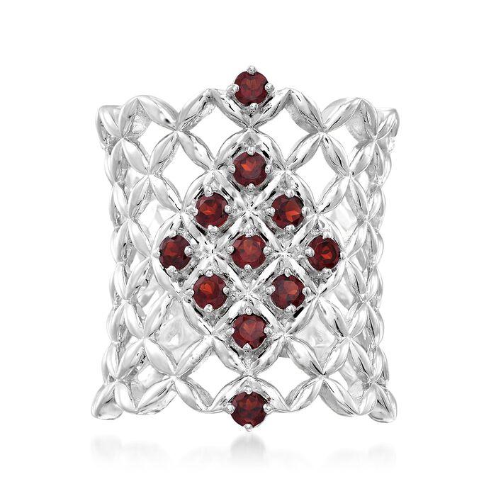 .80 ct. t.w. Garnet Latticework Ring in Sterling Silver, , default