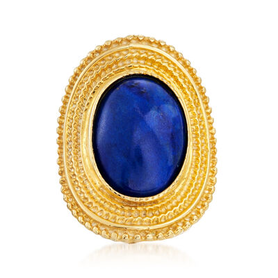 Italian 12x16mm Lapis Ring in 18kt Gold Over Sterling, , default