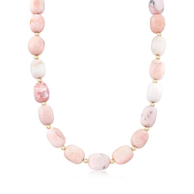 Pink Opal Beaded Necklace in 14kt Yellow Gold, , default