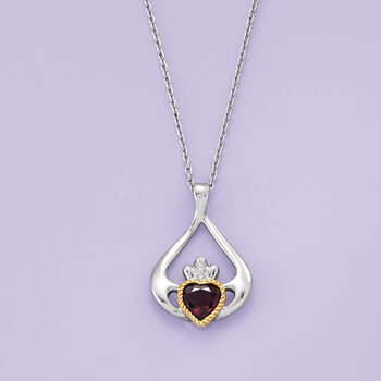 1.70 Carat Garnet Heart Claddagh Pendant Necklace in Sterling Silver with 14kt Yellow Gold, , default
