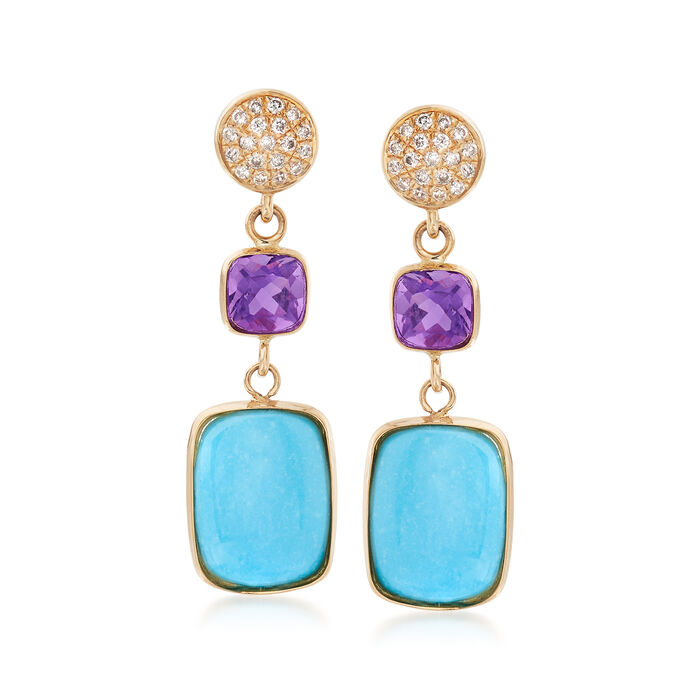 9x7mm Stabilized Turquoise and .70 ct. t.w. Amethyst Drop Earrings with .10 ct. t.w. Diamonds in 14kt Yellow Gold, , default