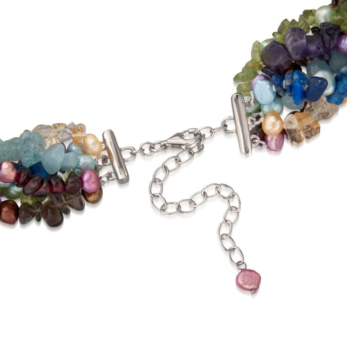 Multi-Stone and Cultured Pearl Torsade Necklace in Sterling Silver