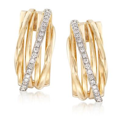 .42 ct. t.w. Diamond Crisscross Drop Earrings in 14kt Yellow Gold