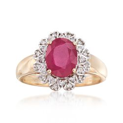 Ruby and .20 ct. t.w. Diamond Ring in 14kt Yellow Gold, , default