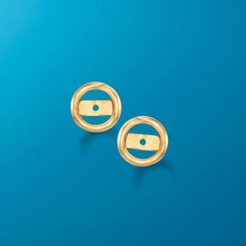 14kt Yellow Gold Bezel Earring Jackets, , default