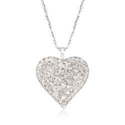 "C. 1990 Vintage 3.00 ct. t.w. Pave Diamond Heart Pendant Necklace in 14kt White Gold. 18"", , default"