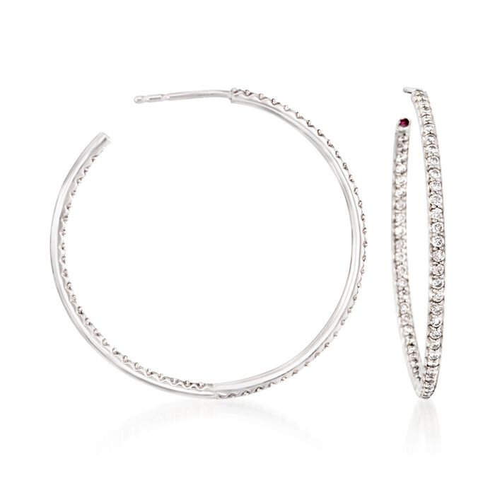 "Roberto Coin 1.10 ct. t.w. Diamond Inside-Outside Hoop Earrings in 18kt White Gold. 1 3/8"", , default"
