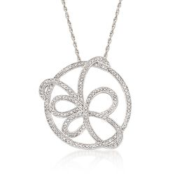 """1.75 ct. t.w. Pave CZ Butterfly Pendant Necklace in Sterling Silver. 18"""", , default"""