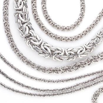 Sterling Silver Three-Strand Byzantine Necklace, , default