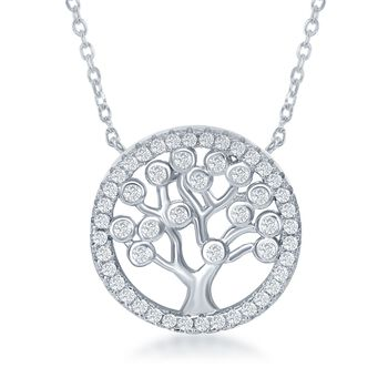 ".60 ct. t.w. CZ Tree of Life Necklace in Sterling Silver. 16.5"", , default"