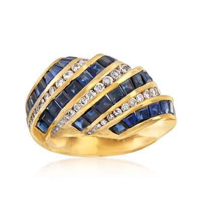 C. 1990 Vintage 2.75 ct. t.w. Sapphire and .60 ct. t.w. Diamond Diagonal Row Ring in 18kt Yellow Gold, , default