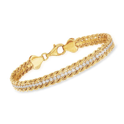 2.00 ct. t.w. CZ Rope Chain Bracelet in 18kt Gold Over Sterling, , default