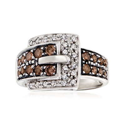 C. 1990 Vintage 1.00 ct. t.w. Brown and White Diamond Buckle Ring in 14kt White Gold