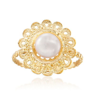 Italian 7.5mm Cultured Pearl Floral Top Ring in 18kt Yellow Gold, , default