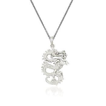 """14kt White Gold Dragon Pendant Necklace. 18"""", , default"""