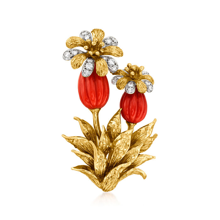 C. 1970 Vintage Tiffany Jewelry Red Coral and .85 ct. t.w. Diamond Flower Pin in 18kt Yellow Gold