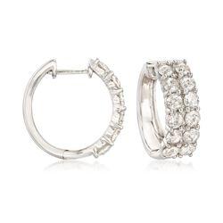 3.00 ct. t.w. Diamond Hoop Earrings in 14kt White Gold, , default