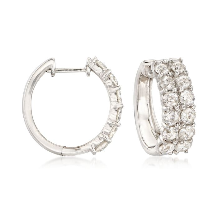 "3.00 ct. t.w. Diamond Hoop Earrings in 14kt White Gold. 5/8"", , default"