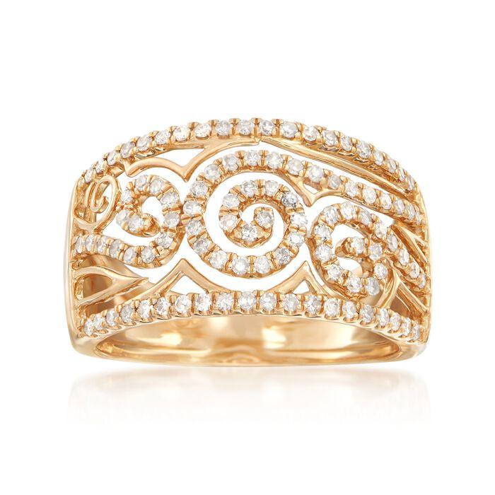 .50 ct. t.w. Diamond Swirl Openwork Ring in 14kt Yellow Gold, , default