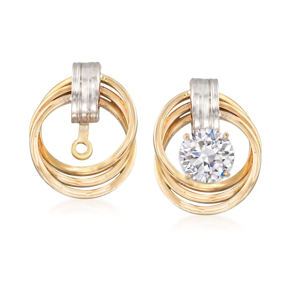 14kt Two Tone Gold Love Knot Earring Jackets Default