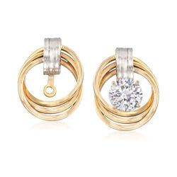 14kt Two-Tone Gold Love Knot Earring Jackets, , default
