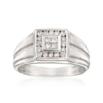 Men's .50 ct. t.w. Diamond Square-Top Ring in 14kt White Gold, , default