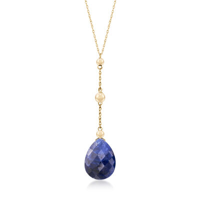 10.00 Carat Sapphire Y-Necklace in 14kt Yellow Gold, , default