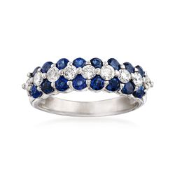 1.60 ct. t.w. Sapphire and .61 ct. t.w. Diamond Ring in 14kt White Gold, , default