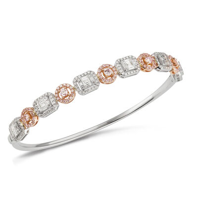1.58 ct. t.w. Round and Baguette Diamond Bangle Bracelet in 18kt Two-Tone Gold