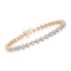 ".10 ct. t.w. Diamond Circle Link Bracelet in 14kt Yellow Gold. 7"", , default"