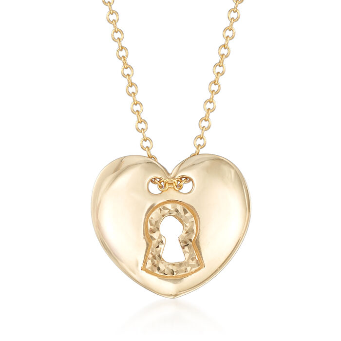 14kt Yellow Gold Heart-Shaped  Lock Necklace, , default