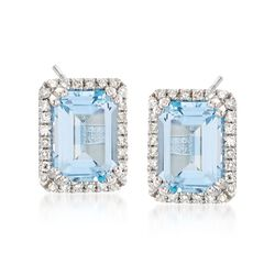 2.50 ct. t.w. Blue Topaz and .18 ct. t.w. Diamond Frame Earrings in 14kt White Gold, , default