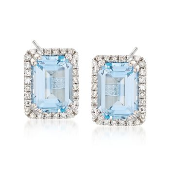 2.50 ct. t.w. Blue Topaz and .18 ct. t.w. Diamond Frame Earrings in 14kt White Gold , , default