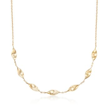 Italian 14kt Yellow Gold Marquise-Twist Link Necklace, , default