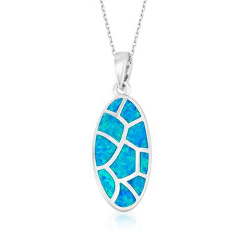 "Blue Synthetic Opal Mosaic Pendant Necklace in Sterling Silver. 18"", , default"