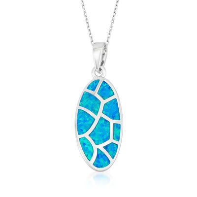 Blue Synthetic Opal Mosaic Pendant Necklace in Sterling Silver, , default